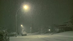 Heavy Snowfall Street and streetlamp - stock footage