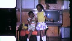 Black GIRL DANCES African American Children 1970s Vintage Film Home Movie 6307 Stock Footage