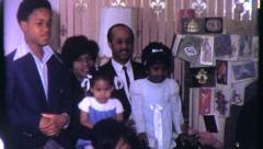 BLACK FAMILY PORTRAIT African American Xmas 1970s Vintage Film Home Movie 6314 Stock Footage