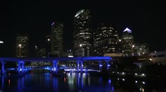 Downtown Tampa skyline at night - stock footage