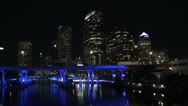 Stock Video Footage of Downtown Tampa skyline at night