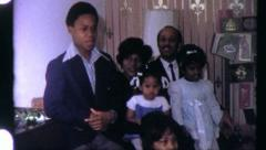 Black FAMILY PORTRAIT African American 1970s Vintage Old Film Home Movie 6315 Stock Footage