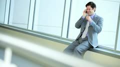 City Businessman Using Smart Phone Airport Lounge Stock Footage
