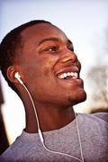 Man Enjoying Earphones - stock photo