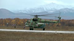 The military MI-8 helicopter begins performance of the fighting task Stock Footage