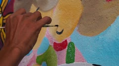 Wall painter on mural job Stock Footage