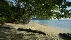Panorama from the top of a large tree on the blue beach with boats Stock Footage