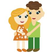 pregnant woman and man - stock illustration