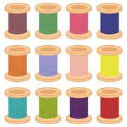 Color reels of thread Stock Illustration