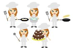 five cooks on white background - stock illustration