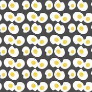 seamless background with fried eggs - stock illustration