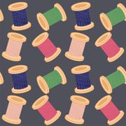 seamless background with reels of thread - stock illustration