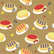 seamless background with pies and fruits - stock illustration