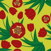 seamless background with tulips - stock illustration