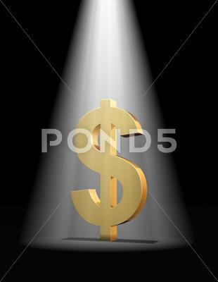 Stock Illustration of dollar in the spotlight