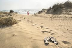barefoot walk - stock photo