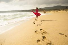 fun on the beach - stock photo