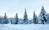 Stock Photo of winter sunset mountain landscape