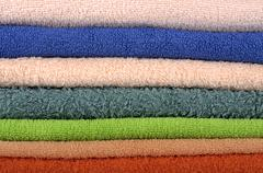 Pile of colorful towels Stock Photos