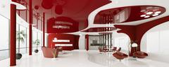 Modern interior of apartment panorama 3d render Stock Illustration