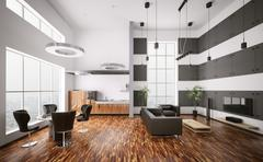 interior of modern apartment 3d render - stock illustration