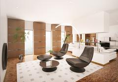 interior of modern apartment 3d render - stock illustration