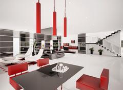 Interior of modern apartment 3d render Stock Illustration