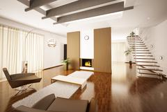Modern apartment interior 3d render Stock Illustration