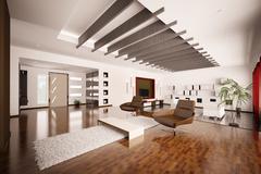 modern apartment interior 3d render - stock illustration