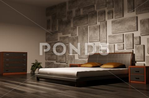 Stock Illustration of bedroom interior 3d