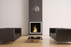 Interior with fireplace 3d Stock Illustration