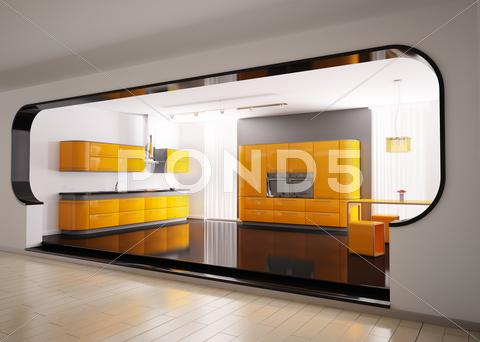 Stock Illustration of orange gray kitchen 3d