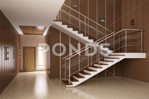 Stock Illustration of interior of hall with stairs 3d render