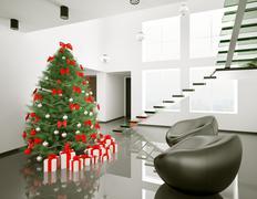 christmas tree in the modern room interior 3d - stock illustration