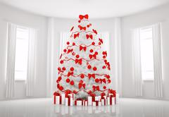 white christmas tree in the room interior 3d - stock illustration