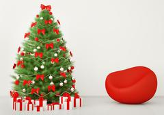 christmas tree in the room with armchair interior 3d render - stock illustration