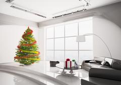 christmas fir tree in living room interior 3d render - stock illustration