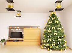 christmas fir tree in modern living room interior 3d render - stock illustration