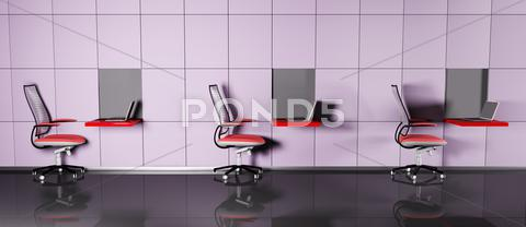 Stock Illustration of computer workplaces 3d