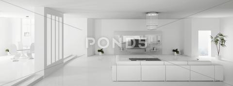 Stock Illustration of white apartment panorama 3d