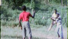 Stock Video Footage of HOME RUN! BASEBALL GAME Black African American 1970 Vintage Film Home Movie 6347