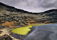 green lagoon on lanzarote - stock photo
