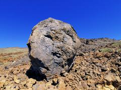 volcanic bomb, teide national park, tenerife - stock photo