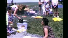 BIG HAIR! FAMILY PICNIC Reunion BBQ 1970s (Vintage Retro Film Home Movie) 6357 - stock footage