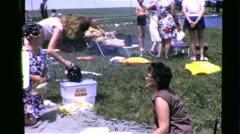 BIG HAIR! FAMILY PICNIC Reunion BBQ 1970s (Vintage Retro Film Home Movie) 6357 Stock Footage
