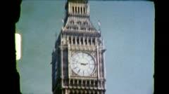 BIG BEN Tower LONDON Street Scene Traffic 1970s Vintage Film Home Movie 6358 - stock footage