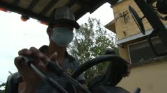 Asian Garment Industry Factory: Low Angle of Fork Lift Driver Operating Forklift Stock Footage