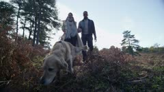 Attractive couple walking their dog along a forest trail Stock Footage