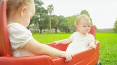 Caucasian children enjoying together play trailer Stock Footage