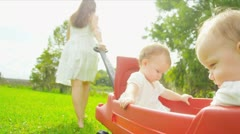 Caucasian mother pulling play trailer with babies in garden - stock footage